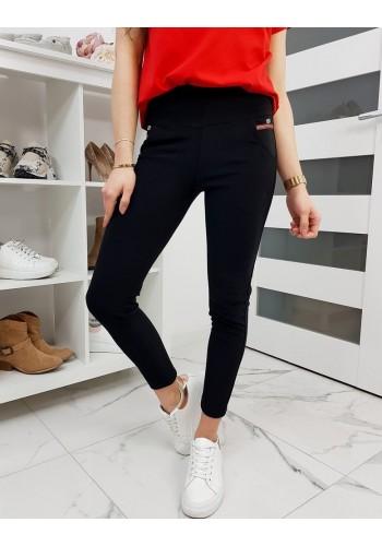 Dámské elastické kalhoty v černé barvě