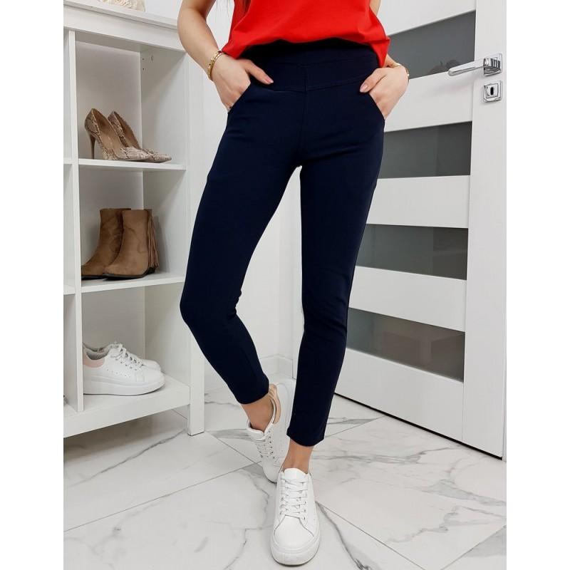 Tmavě modré elastické kalhoty pro dámy