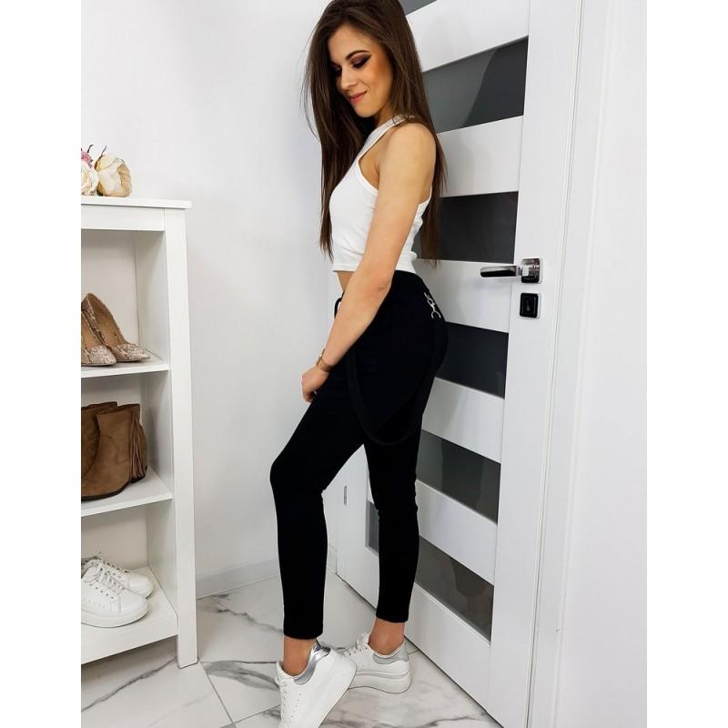 Stylové dámské kalhoty černé barvy s ozdobným pásem