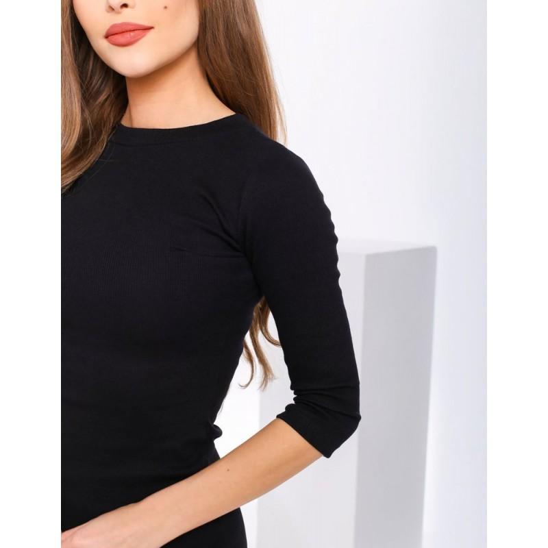 Černé klasické šaty s 3/4 rukávem pro dámy
