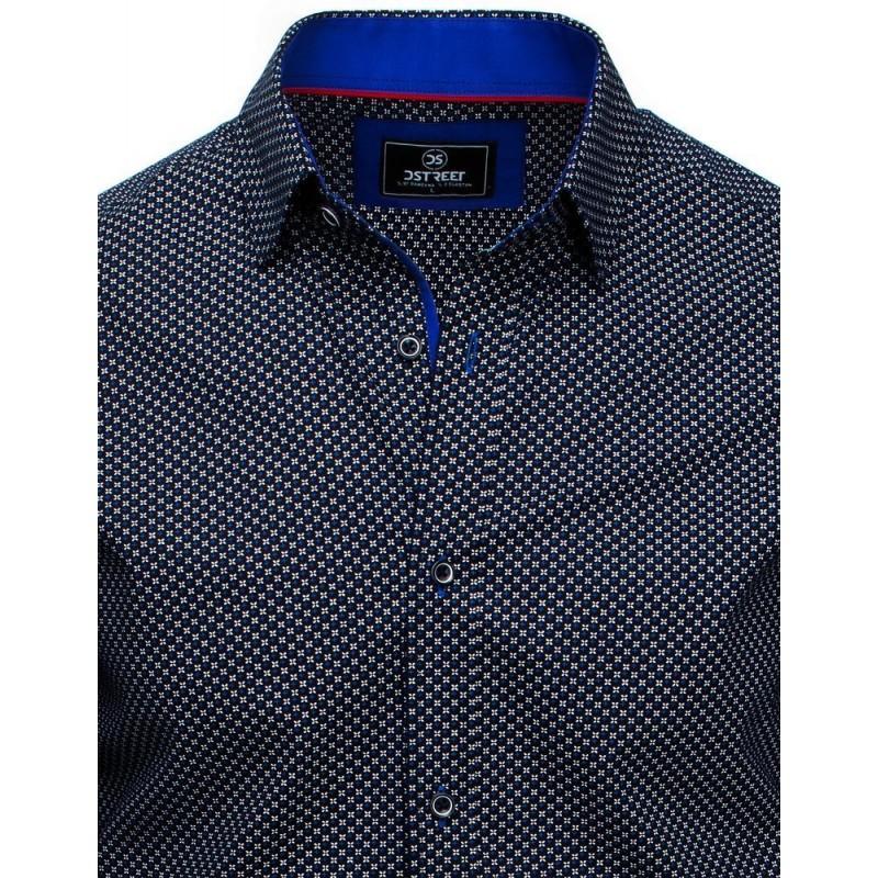 Pánské vzorované košile s dlouhým rukávem v černé barvě
