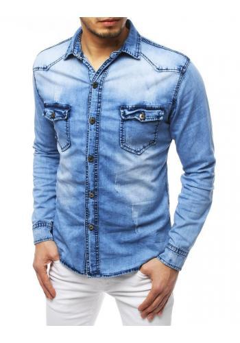 Světle modrá riflová košile s potiskem na zádech pro pány