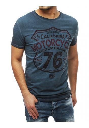 Módní pánské tričko tmavě modré barvy s potiskem