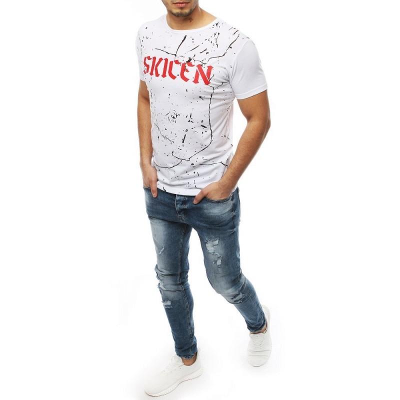 Pánské módní tričko s potiskem v bílé barvě