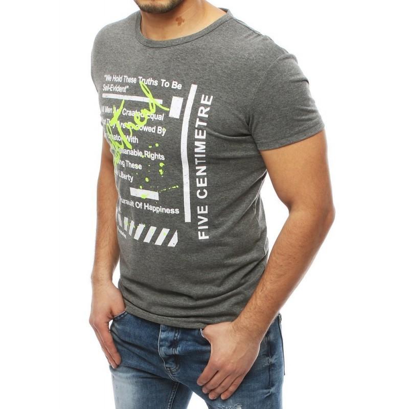Sportovní pánské tričko šedé barvy s potiskem