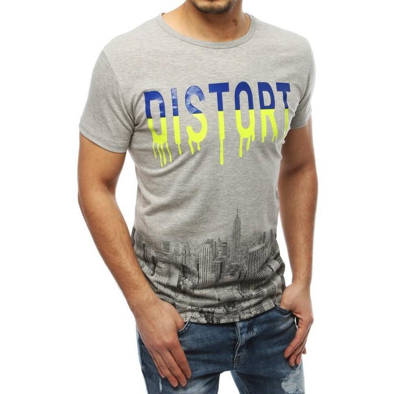 Stylové pánské tričko šedé barvy s potiskem