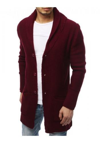 Pánský dlouhý svetr se šálovým límcem v bordové barvě