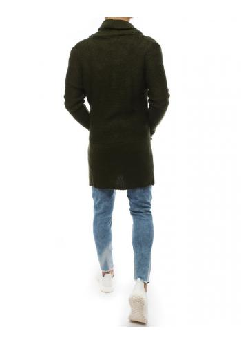 Dlouhý pánský svetr kaki barvy se šálovým límcem