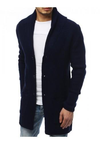 Tmavě modrý dlouhý svetr se šálovým límcem pro pány