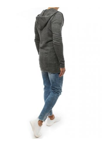 Pánský dlouhý svetr s kapucí v světle šedé barvě