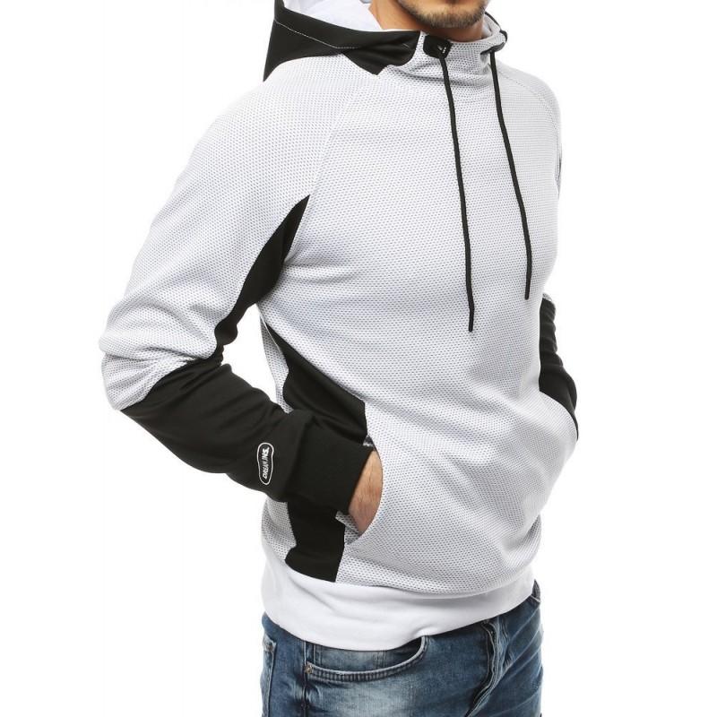 Bílá sportovní mikina s kapucí pro pány