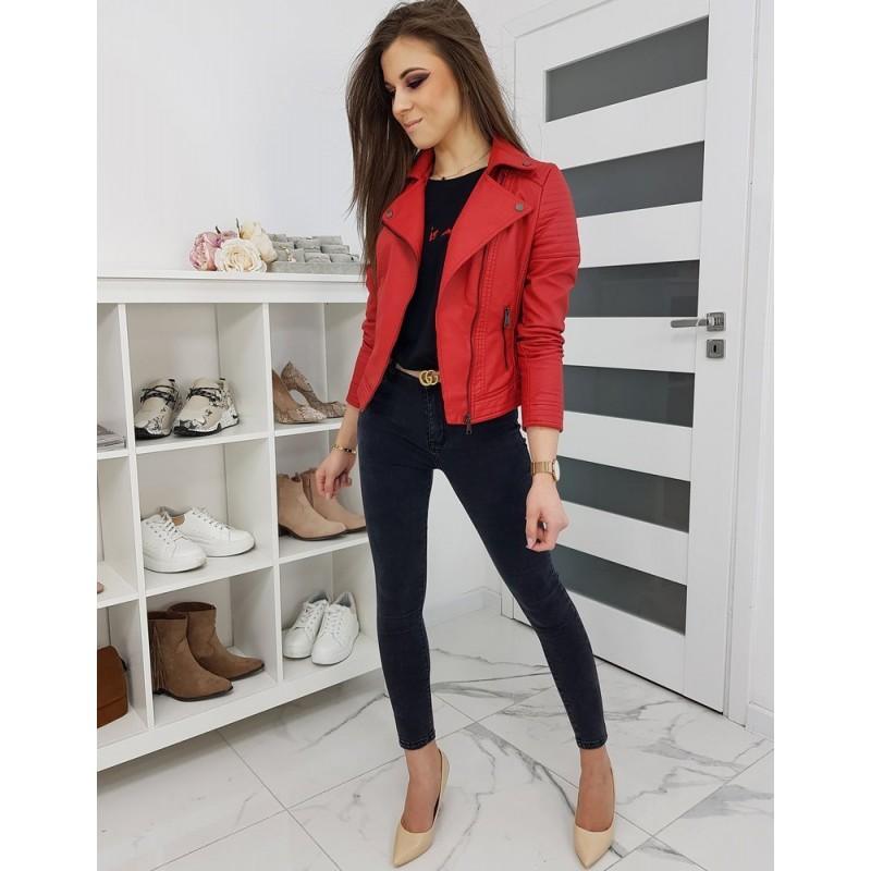 Dámská koženková bunda na jaro v červené barvě