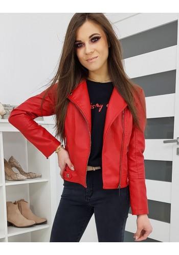 Červená koženková bunda na jaro pro dámy