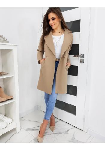 Dámský klasický kabát se dvěma knoflíky v béžové barvě