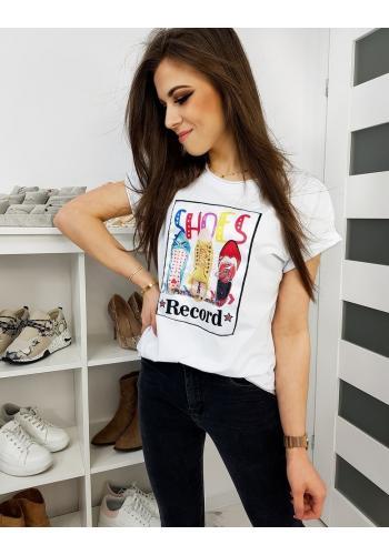 Dámské klasické tričko s barevným potiskem v bílé barvě
