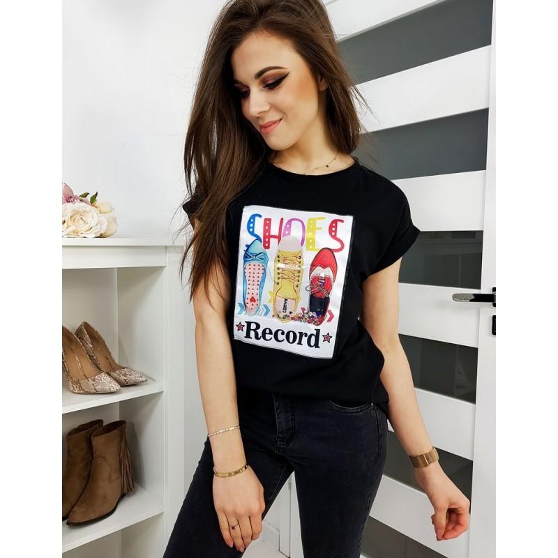 Černé klasické tričko s barevným potiskem pro dámy