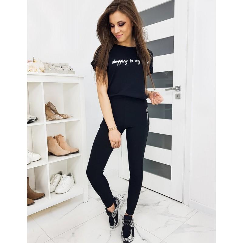 Černé elastické kalhoty pro dámy