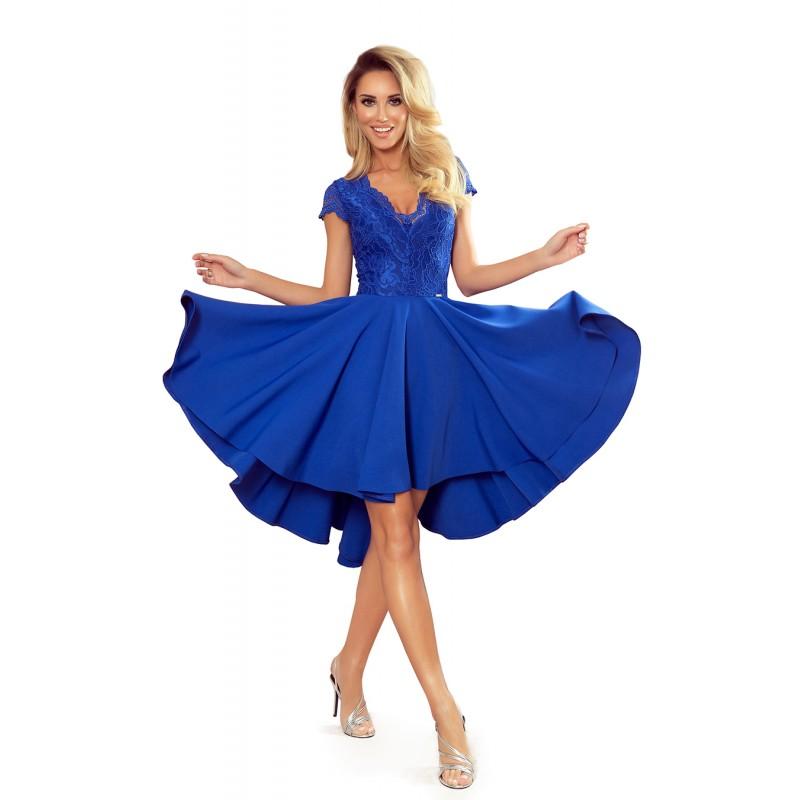 Exkluzivní dámské šaty modré barvy s krajkovým výstřihem