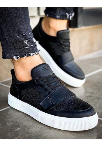 Pánské módní tenisky se suchým zipem v černé barvě
