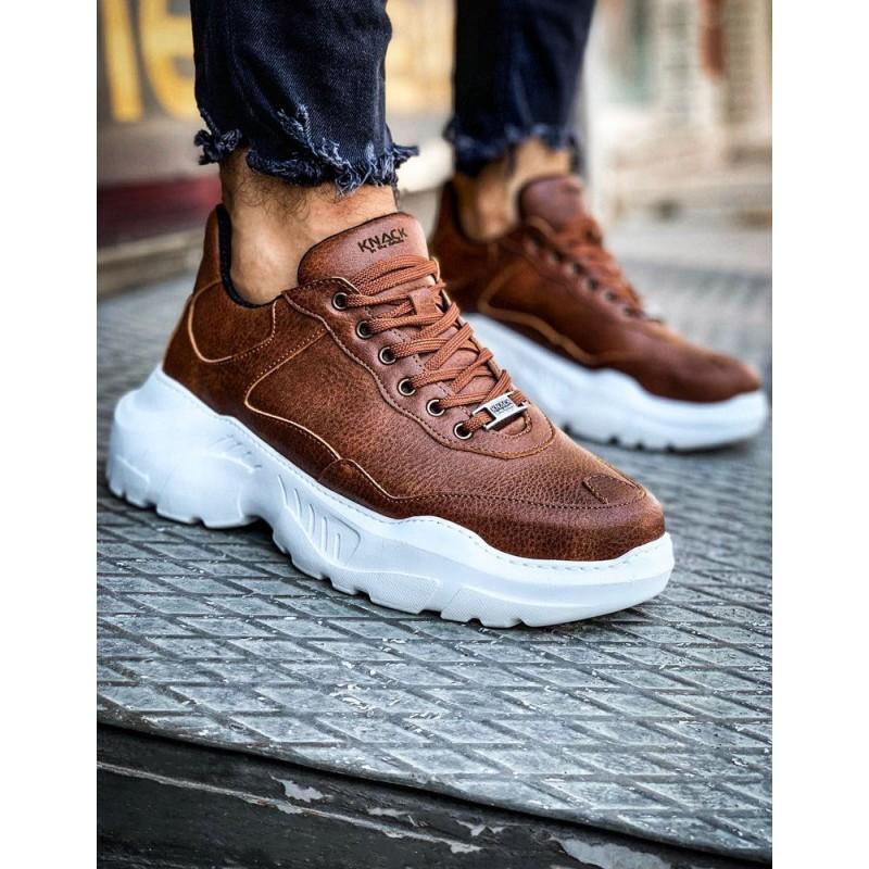 Pánské módní Sneakersy na vysoké podrážce v hnědé barvě