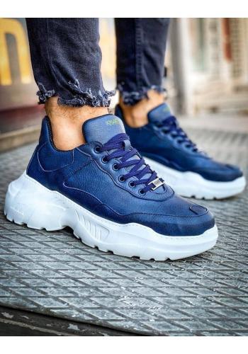 Módní pánské Sneakersy modré barvy na vysoké podrážce