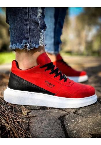 Sportovní pánské Sneakersy červené barvy na vysoké podrážce