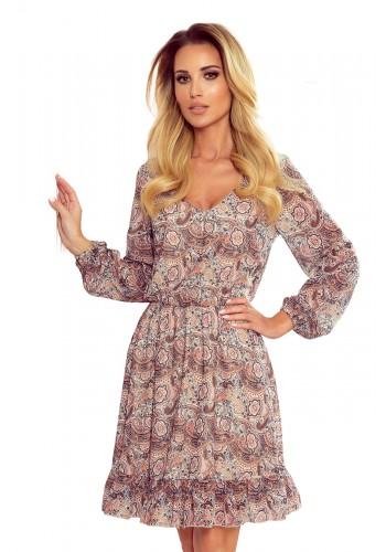Dámské šifónové šaty s boho vzorem v béžovo-hnědé barvě