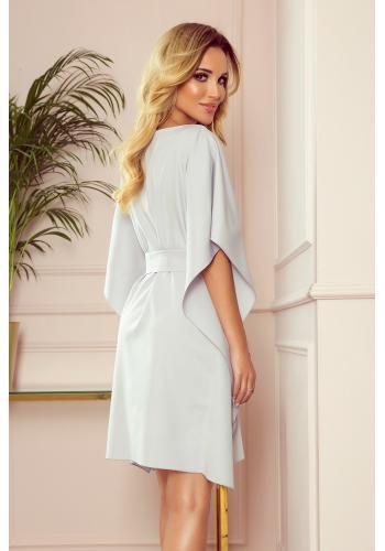 Módní dámské šaty šedé barvy s páskem