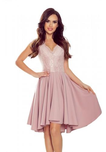Práškově růžové exkluzivní šaty s krajkovým výstřihem pro dámy