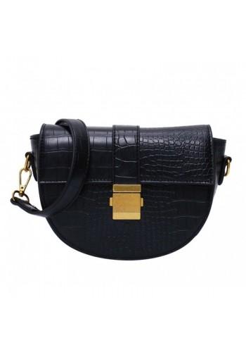 Dámská módní kabelka s texturou hadí kůže v černé barvě
