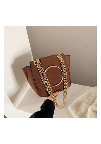 Módní dámská kabelka hnědé barvy se zlatými doplňky