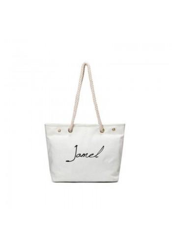 Bílá velká plátěná taška s nápisem pro dámy