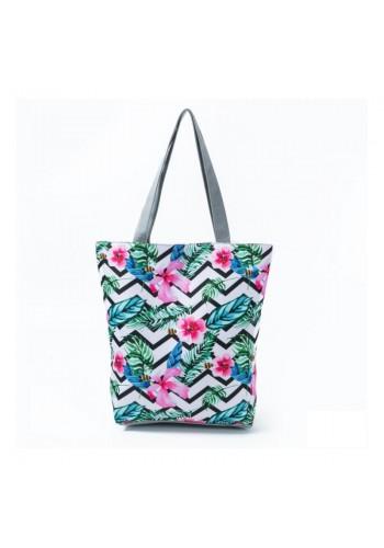 Plážová dámská taška s barevným květinovým potiskem