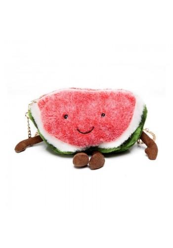 Plyšová dámská kabelka ve tvaru melounu