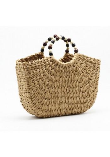 Dámská proutěná kabelka v hnědé barvě