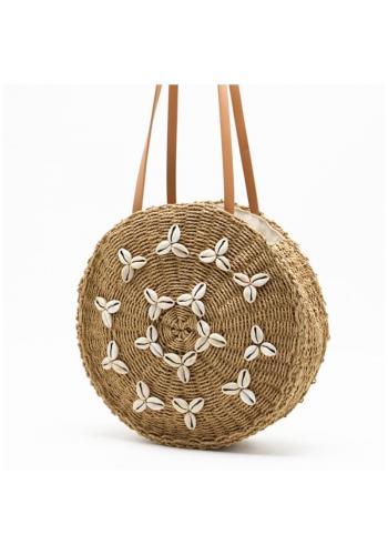 Kulatá proutěná kabelka s mušlemi pro dámy