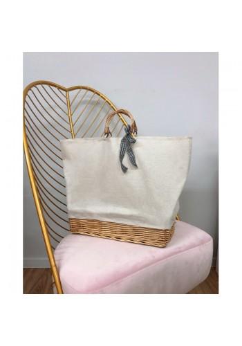 Dámská proutěná kabelka s béžovou látkou