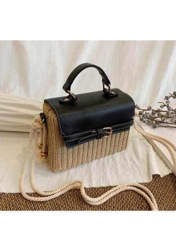 Dámská proutěná kabelka s černou ekokůží