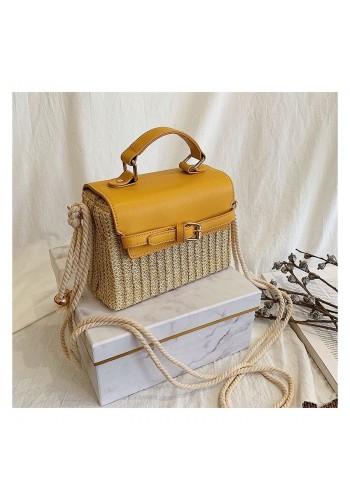 Proutěná dámská kabelka se žlutou ekokůží