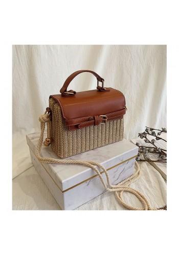 Dámská proutěná kabelka s hnědou ekokůží