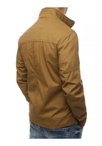 Přechodná pánská bunda hnědé barvy bez kapuce