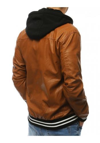 Kožená pánská bunda hnědé barvy s kapucí