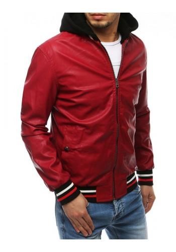 Pánská kožená bunda s kapucí v červené barvě