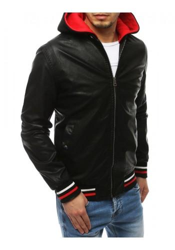 Černá kožená bunda s kapucí pro pány