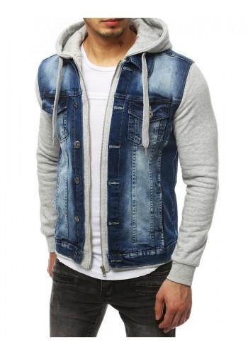 Pánská riflová bunda s teplákovými rukávy a kapucí v modré barvě