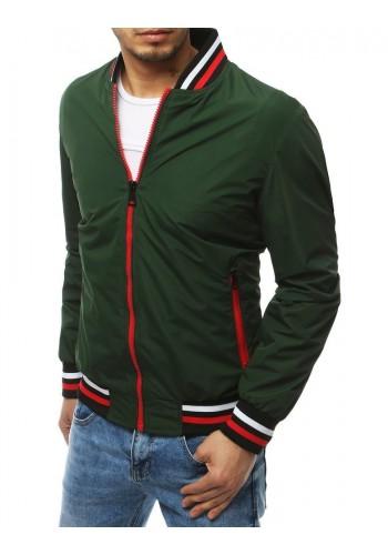 Přechodná pánská bunda zelené barvy bez kapuce