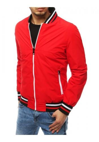 Přechodná pánská bunda červené barvy bez kapuce