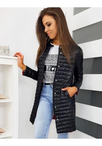 Dámská prošívaná bunda bez kapuce v černé barvě