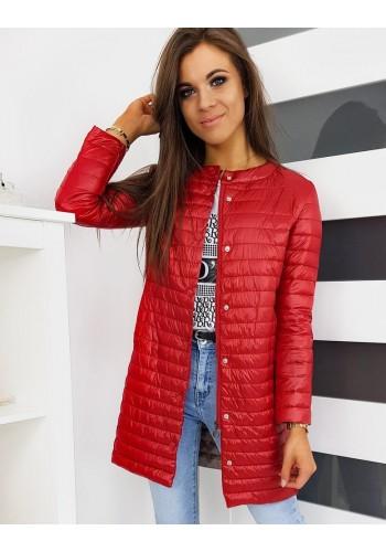Červená prošívaná bunda bez kapuce pro dámy