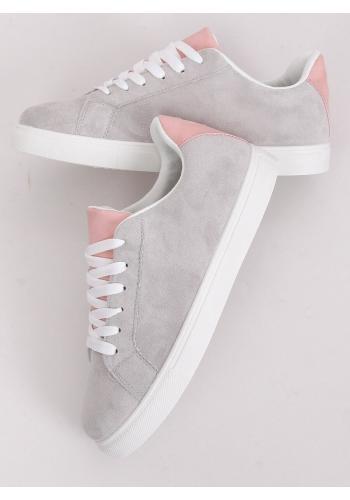 Dámské semišové tenisky s růžovými doplňky v šedé barvě